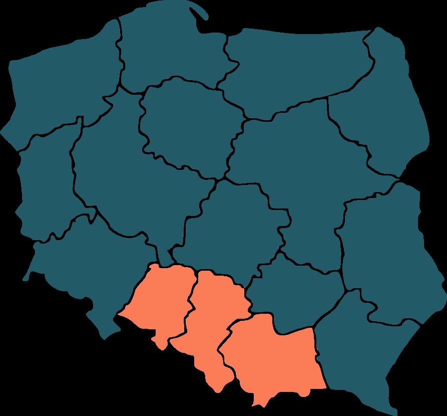 Mapa Polski - zasięg działania